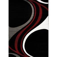 Plait Black/ Red/ Grey Waves Rug (5'3 x 7'7)