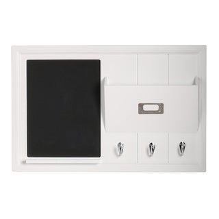 Designovation Dagny White Wood Home Organizer with Chalkboard, Mail Holder and Key Hooks