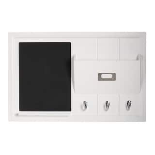 Designovation Dagny White Wood Home Organizer with Chalkboard, Mail Holder and Key Hooks|https://ak1.ostkcdn.com/images/products/12127576/P18985578.jpg?impolicy=medium