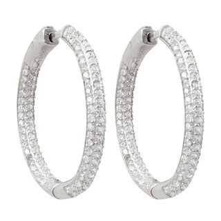 Luxiro Sterling Silver Three-row Pave Cubic Zirconia 30-mm Hoop Earrings - White