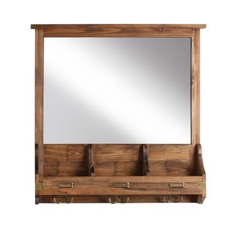 Stallard Decorative Rustic Wood Home Organizer and Hooks - 24x24