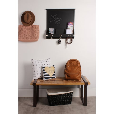 Kate and Laurel Black/Brown Wood Home Organizer with Chalkboard and Hooks