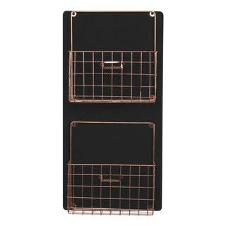 Dinah Decorative Wall Chalkboard With Two Metal Baskets|https://ak1.ostkcdn.com/images/products/12127604/P18985593.jpg?impolicy=medium