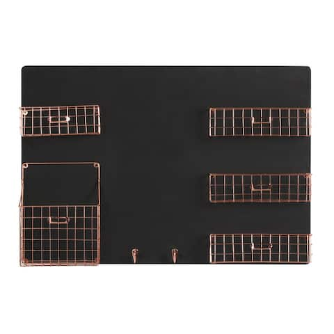 Dinah Decorative Wall Chalkboard With Five Metal Baskets and Key Hooks