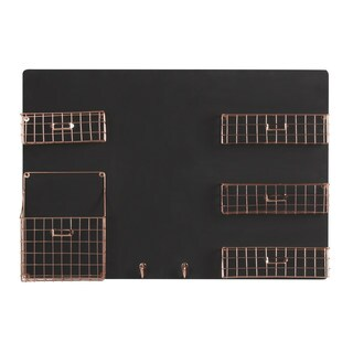 Dinah Decorative Wall Chalkboard With Five Metal Baskets and Key Hooks|https://ak1.ostkcdn.com/images/products/12127610/P18985594.jpg?_ostk_perf_=percv&impolicy=medium