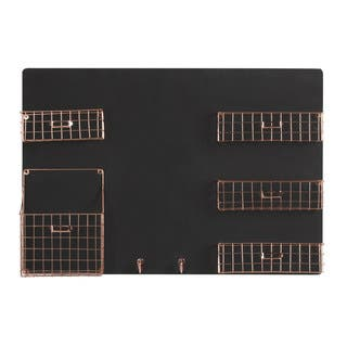 Dinah Decorative Wall Chalkboard With Five Metal Baskets and Key Hooks|https://ak1.ostkcdn.com/images/products/12127610/P18985594.jpg?impolicy=medium