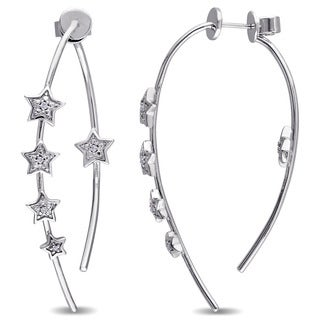 Miadora Sterling Silver Diamond Accent Front-Back Star Earrings