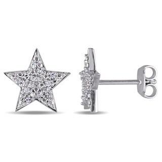 Miadora Sterling Silver 1/10ct TDW Diamond Star Stud Earrings