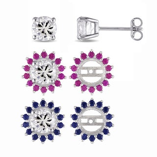 Miadora Sterling Silver Created White Sapphire Stud Earrings and Created Ruby and Created Blue Sapphire Star Jackets Set