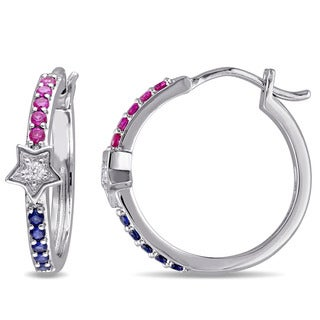 Miadora Sterling Silver Created Ruby and Created Sapphire with Diamond Accent Hoop Earrings