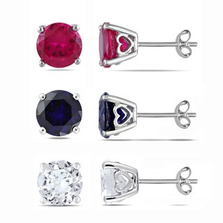 Miadora Sterling Silver Created Ruby and Created Blue and White Sapphire Solitaire Earring Set