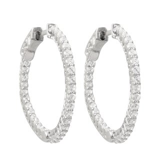Luxiro Sterling Silver Cubic Zirconia 27-mm Endless Hoop Earrings