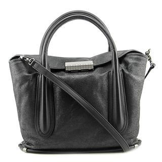 Zac Posen Women's Blythe Fold-over Satchel Black Leather Handbag