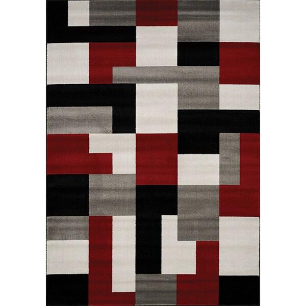 Shop Plait Red Black Grey Blocks Rug 2 8 X 4 11 2 8
