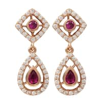 Luxiro Rose Gold Finish Sterling Silver Lab-created Ruby Teardrop Earrings