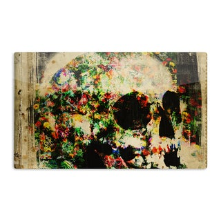KESS InHouse Frederic Levy-Hadida 'Floral Skully' Artistic Aluminum Magnet