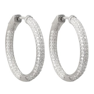 Luxiro Sterling Silver Three-row Pave Cubic Zirconia 27-mm Hoop Earrings