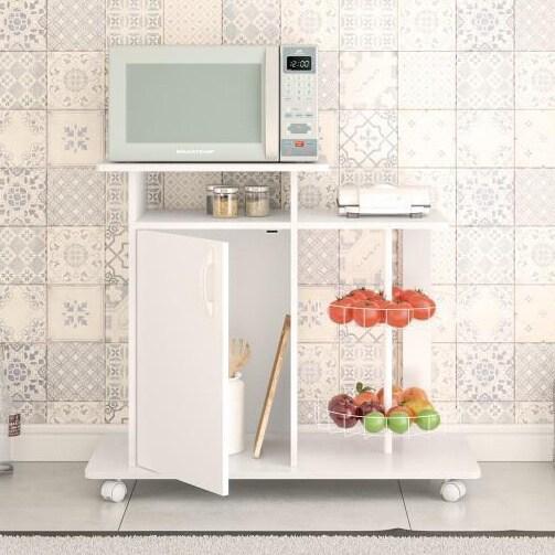 Boahaus White Satin MDF Kitchen Storage Cabinet with Frui...