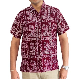 La Leela Handmade Batik Men's Red 100-percent Cotton Relaxed-fit Short-leeve Camp Dress Shirt