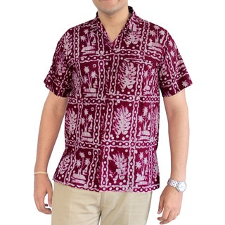 La Leela Men's Palm Leaf Maroon Cotton Casual Hawaiian Handmade Batik Button Down Shirt