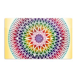 KESS InHouse Famenxt 'Colorful Vibrant Mandala' Rainbow Geometric Artistic Aluminum Magnet