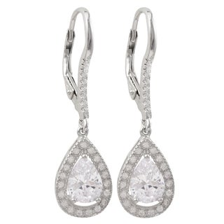 Luxiro Sterling Silver Cubic Zirconia Teardrop Dangle Earrings
