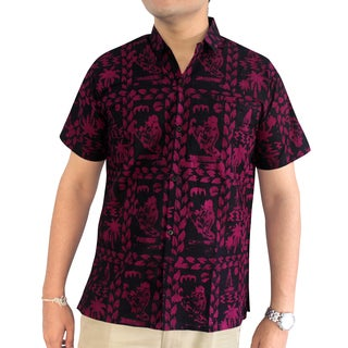 La Leela Men's Pink Cotton Hawaii Tie-Dye Batik Handmade Pocket Dress Shirt