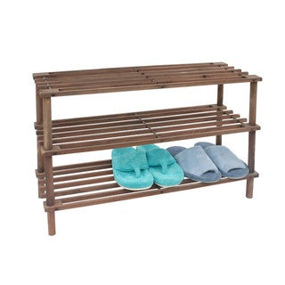 Linen Depot Direct Wood 3-tier Shoe Rack - brown