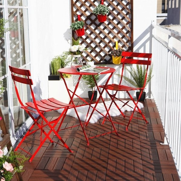 Wonderful Grand Patio Steel 3 Piece Outdoor Folding Bistro Table Set   Free Shipping  Today   Overstock.com   18985909