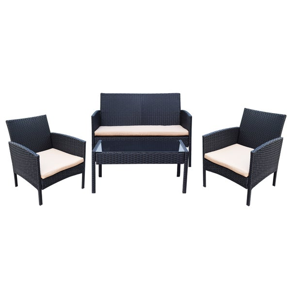 Adeco Black Resin Wicker 4 Piece Outdoor Furniture Set