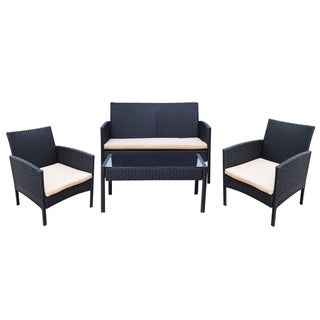 Adeco Black Resin Wicker 4-piece Outdoor Furniture Set