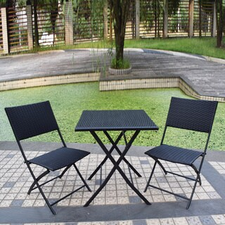 Adeco Black Rattan Wicker Folding Bistro 3-piece Set