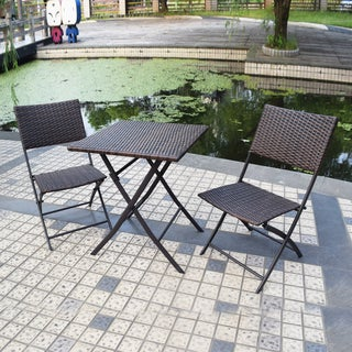 Adeco 3-piece Brown Folding Bistro Set (Set of 3)