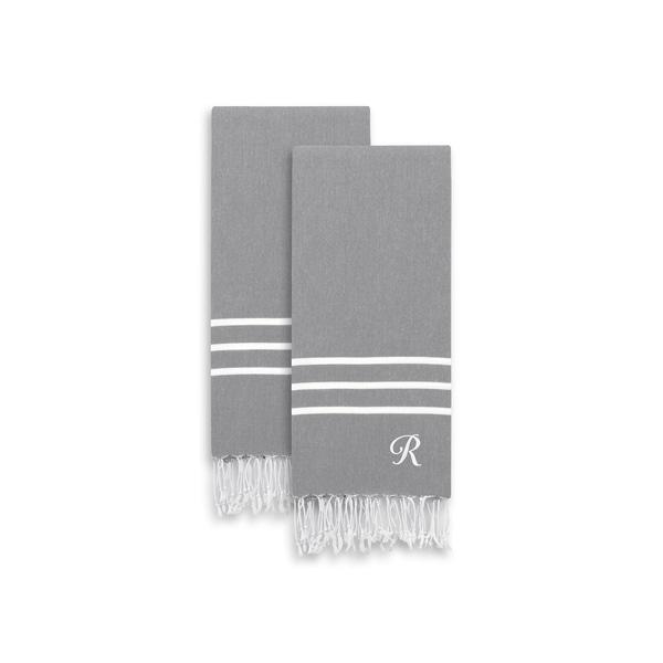 shop authentic ella grey monogrammed pestemal fouta turkish cotton hand  bath towel set of 2