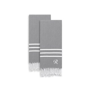 Authentic Ella Grey Monogrammed Pestemal Fouta Turkish Cotton Hand/Bath Towel Set of 2