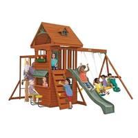 KidKraft Big Backyard Ridgeview Wooden Deluxe Clubhouse Swing Set Play Set