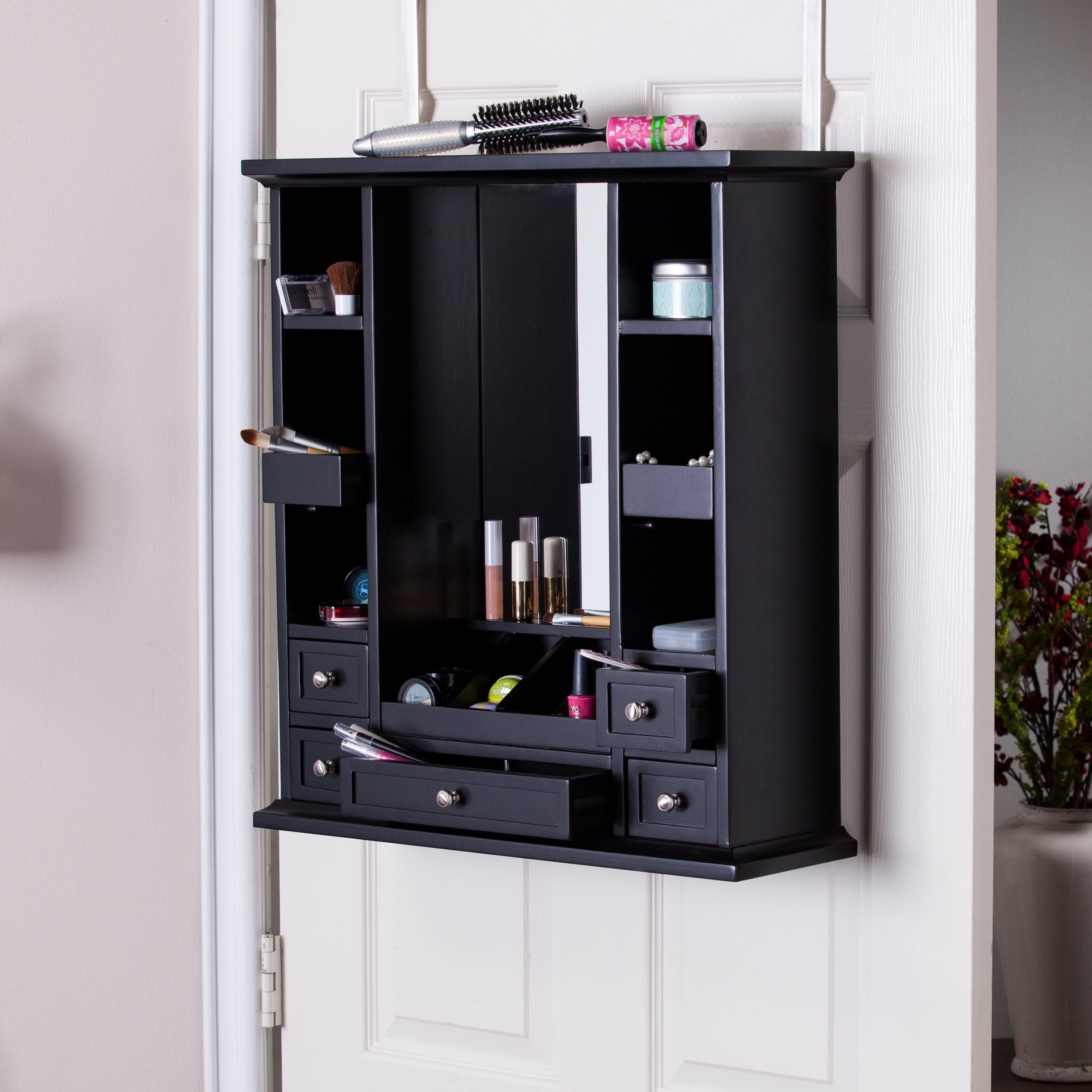 shop harper blvd bonnie over the door makeup jewelry mirror and accessory storage free. Black Bedroom Furniture Sets. Home Design Ideas