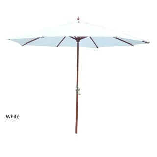 Oakland Living Corporation Market White/Green/Tan Wood/Aluminum/Polyester 9-foot Umbrella with Crank