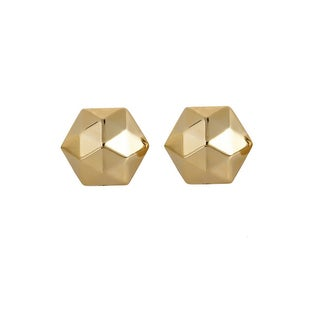 Decadence 14k Yellow Gold Polished DC Hexagon Stud Earring with 14k Silicon Finding Set