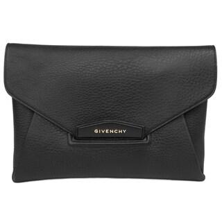 Givenchy Antigona Envelope Black Matte Grained Medium Goatskin Leather Clutch