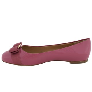 Salvatore Ferragamo Varina Patent Leather Ballet Flats in Griotte