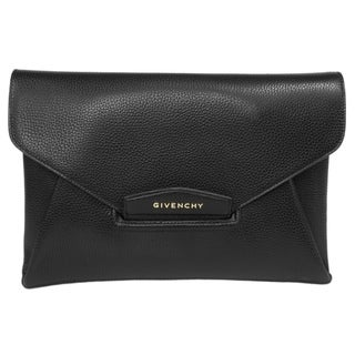 Givenchy Antigona Envelope Black Shiny Grained Goatskin Leather Clutch Size Medium