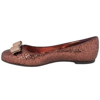 Salvatore Ferragamo Glitter Varina Ballet Flats in Rouge Noir