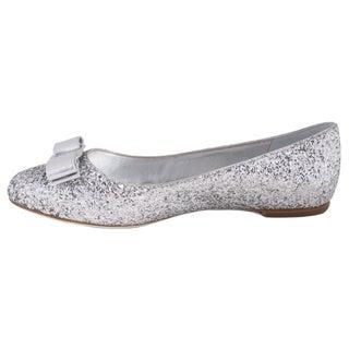 Salvatore Ferragamo Glitter Satin Varina Ballet Flats in Silver