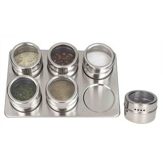 Home Basics Stainless Steel Magnetic Spice Racks (Pack of 4 or 6)