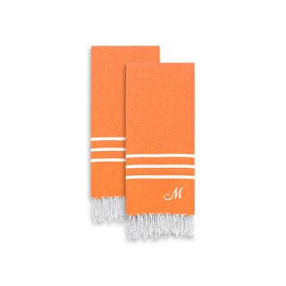 Authentic Ella Dark Orange Monogrammed Pestemal Fouta Turkish Cotton Hand/Kitchen Towel (Set of 2)