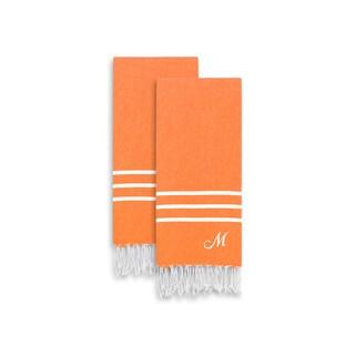 Authentic Ella Dark Orange Monogrammed Pestemal Fouta Turkish Cotton Hand/Kitchen Towel (Set of 2)