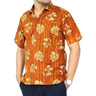 La Leela Men's Vintage Hawaiian Aloha Mustard Cotton Button Down Short Sleeve Shirt