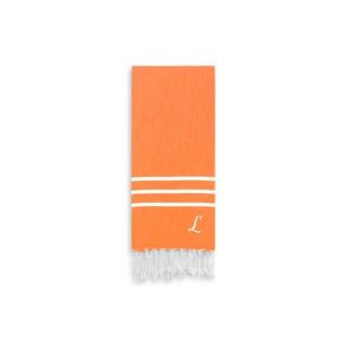 Authentic Ella Dark Orange Monogrammed Pestemal Fouta Turkish Cotton Hand/Kitchen Towel