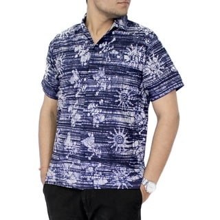 La Leela Men's Blue Cotton Tie-dye Hand-batik Short-sleeve Shirt